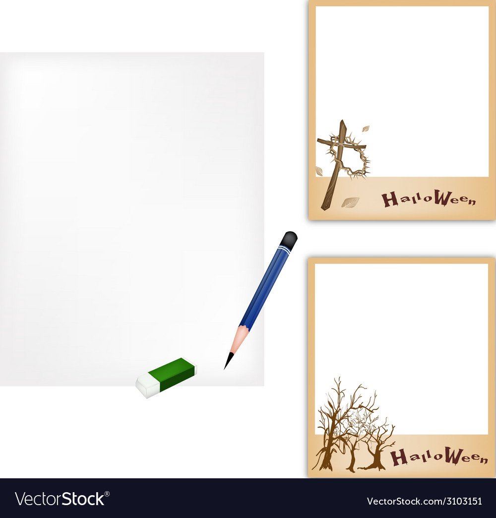 Pencil and halloween photo frame with blank paper vector | Price: 1 Credit (USD $1)