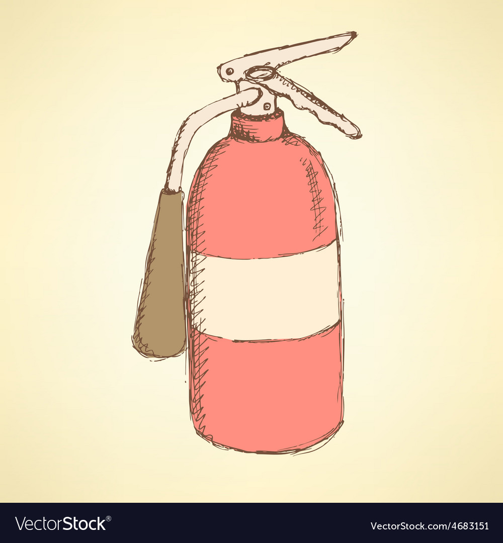 Sketch colorful extinguisher in vintage style vector | Price: 1 Credit (USD $1)
