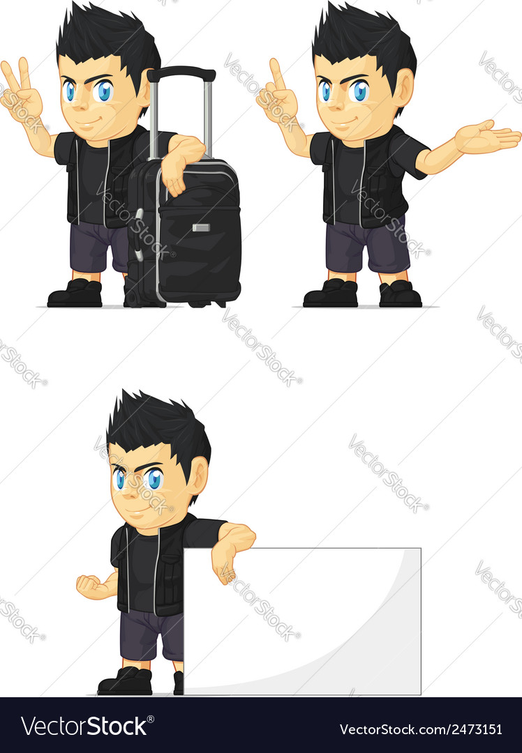Spiky rocker boy customizable mascot 14 vector | Price: 1 Credit (USD $1)