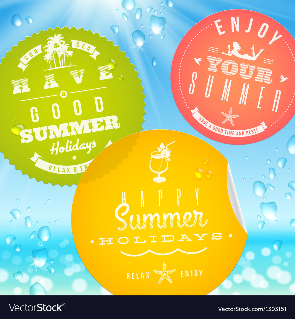 Stickers with summer vacation and travel emblems vector | Price: 1 Credit (USD $1)