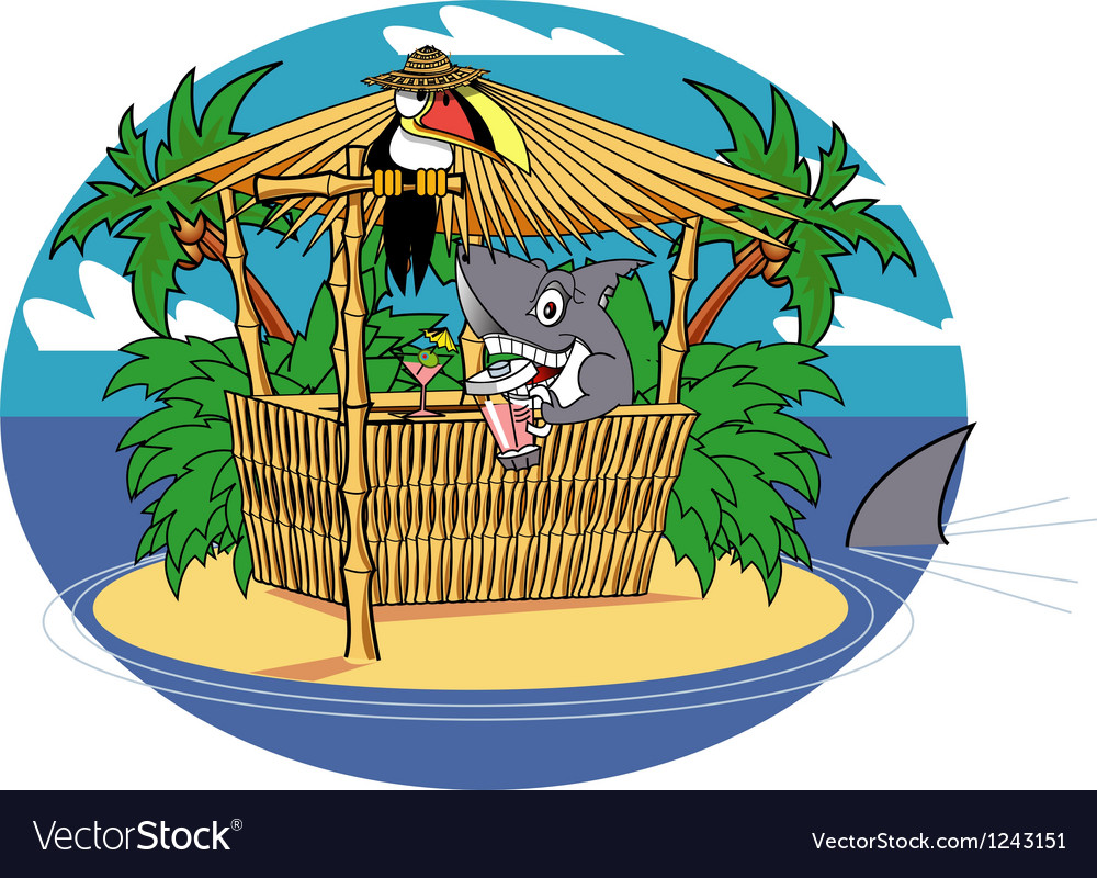 Tiki hut shark vector | Price: 1 Credit (USD $1)