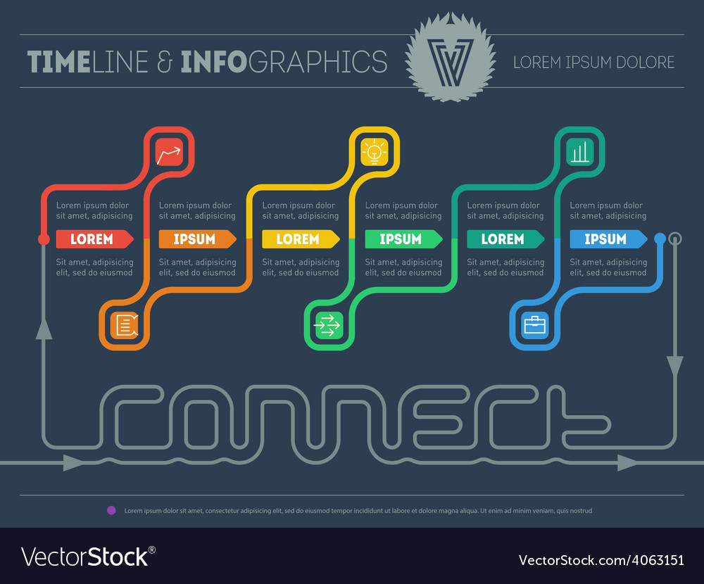 Web template of infographic timeline about connect vector | Price: 1 Credit (USD $1)