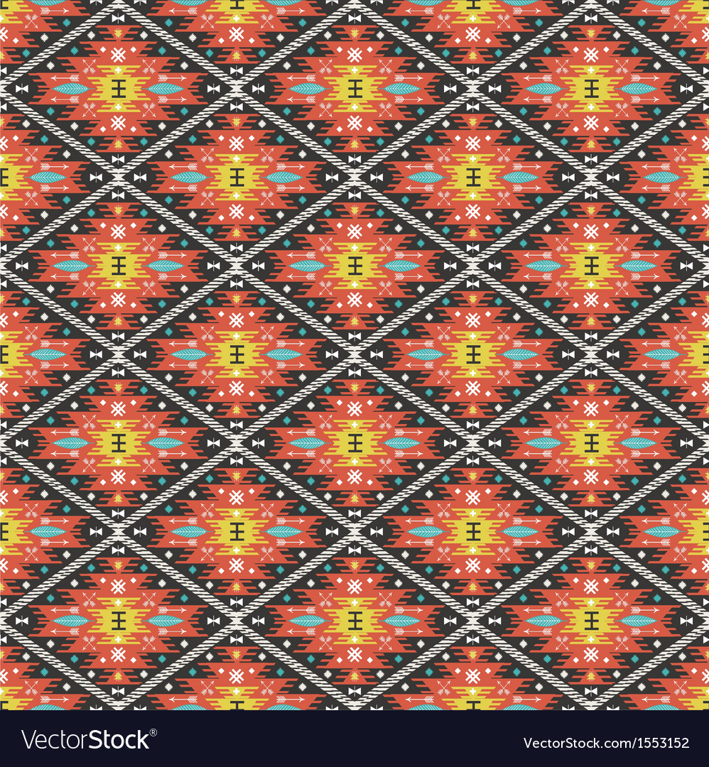Aztec geometric seamless colorful pattern vector | Price: 1 Credit (USD $1)