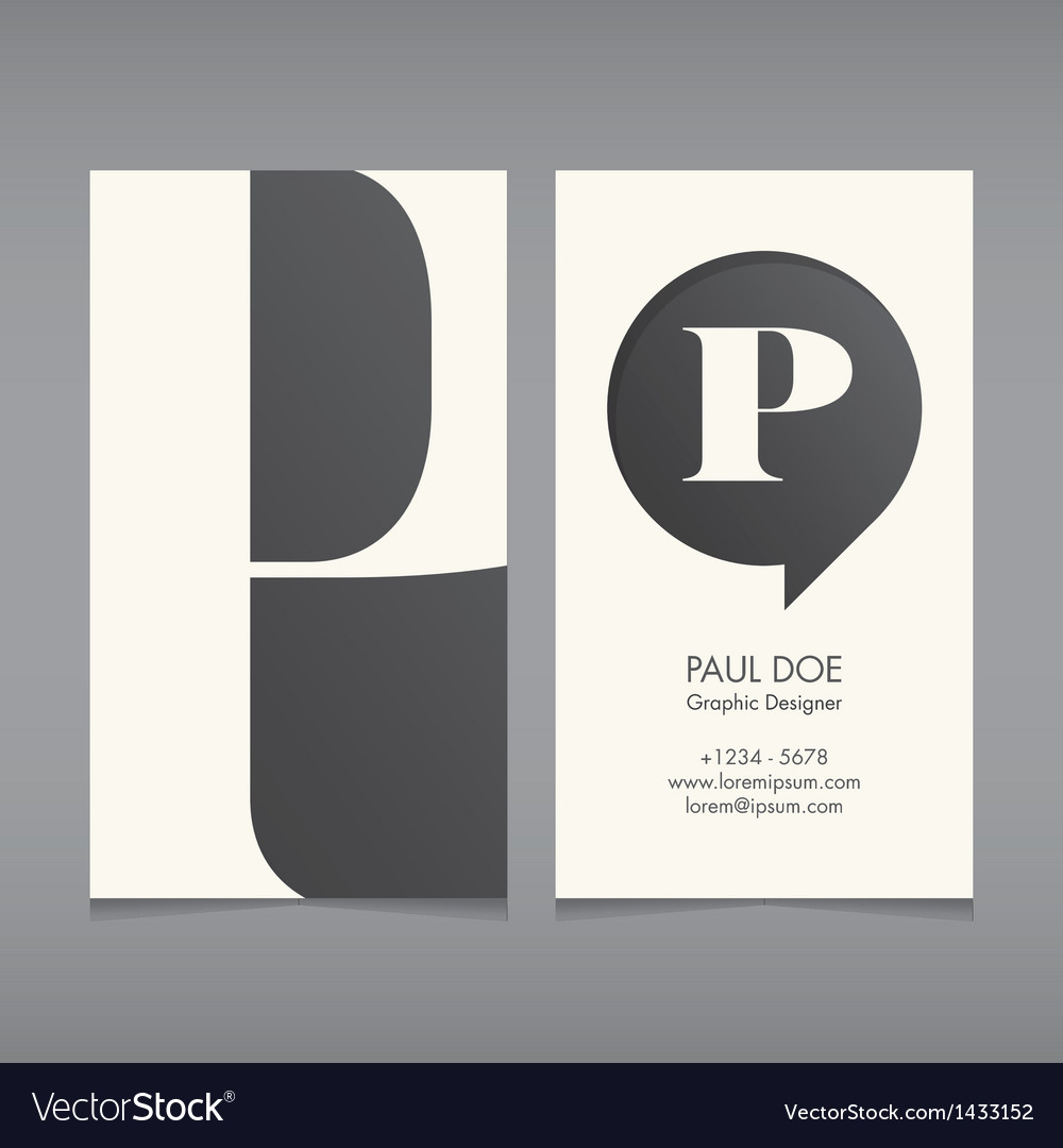 Business card template letter p vector | Price: 1 Credit (USD $1)