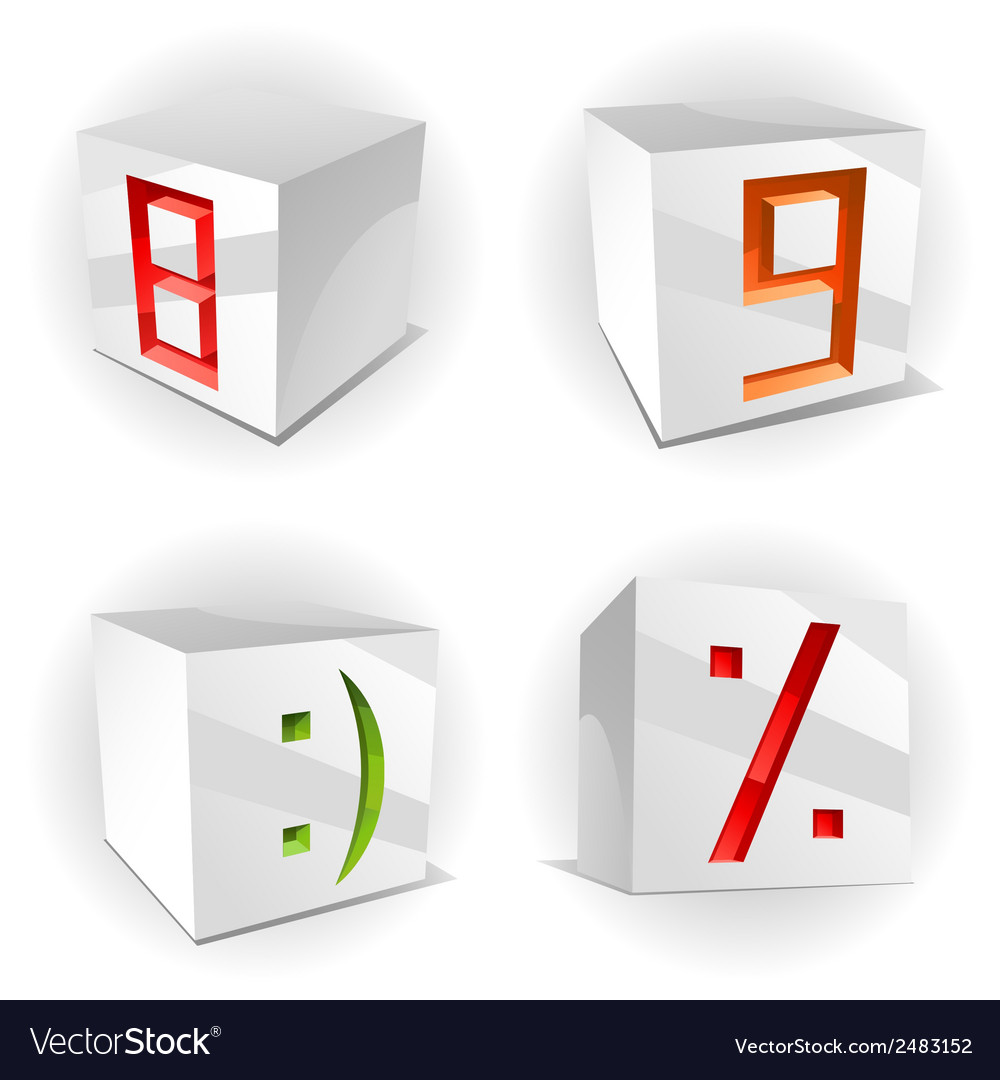 Cube alphabet numbers 89 smile and percent vector | Price: 1 Credit (USD $1)
