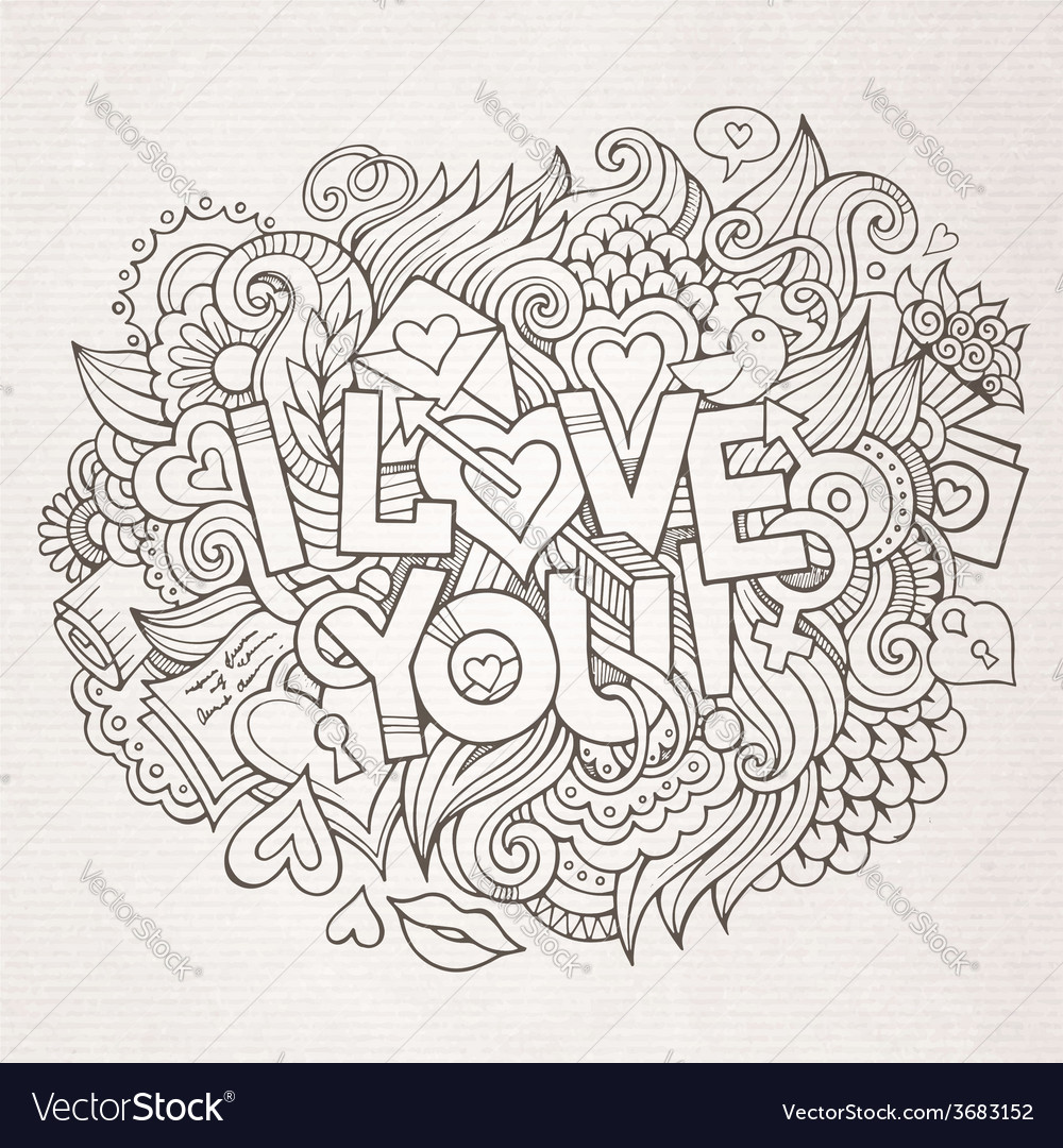 I love you hand lettering and doodles elements vector | Price: 1 Credit (USD $1)