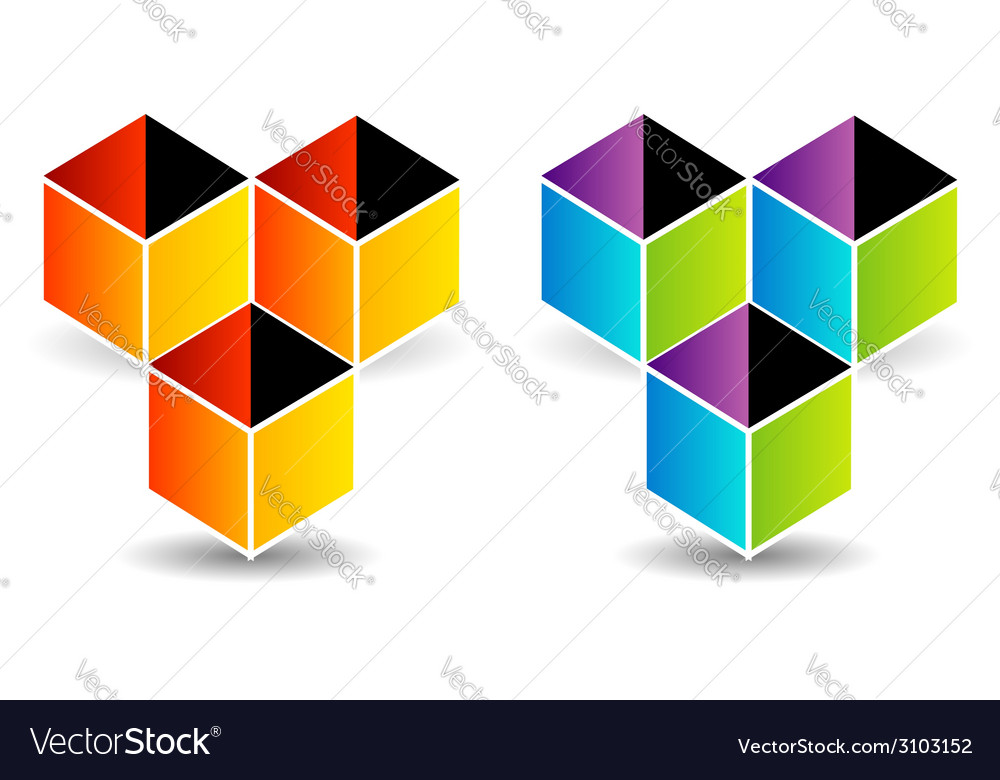 Logo with colorful cubes and shadow vector | Price: 1 Credit (USD $1)