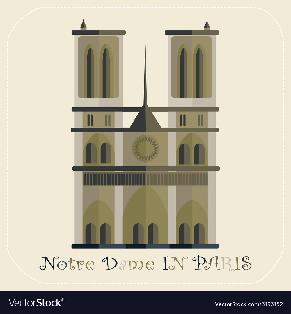 Notre dame cathedral in paris icon vector | Price: 1 Credit (USD $1)