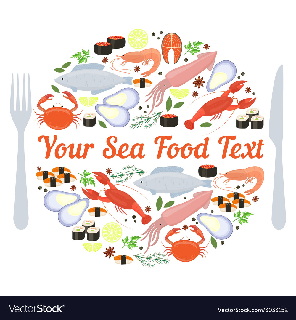 Sea food label vector | Price: 1 Credit (USD $1)