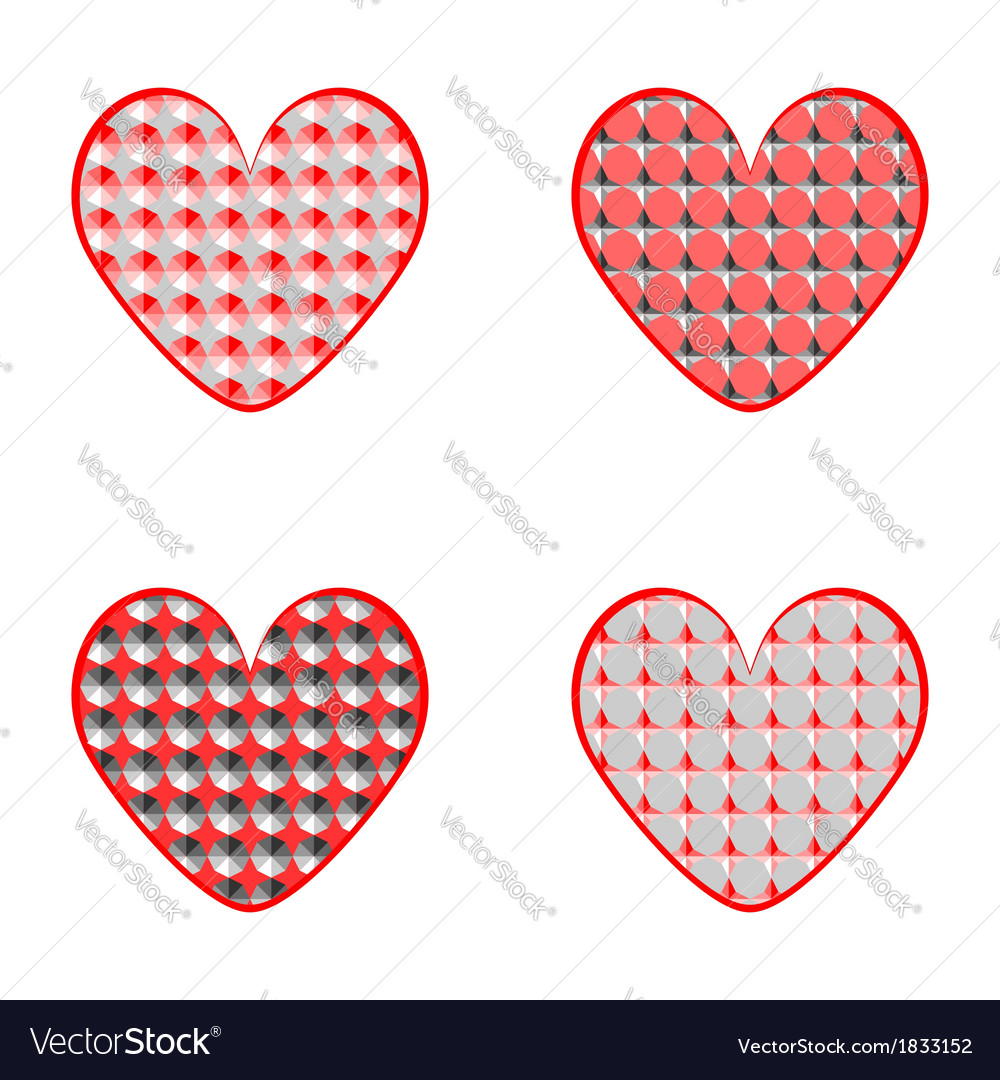Set of heart icons for valentines day and wedding vector