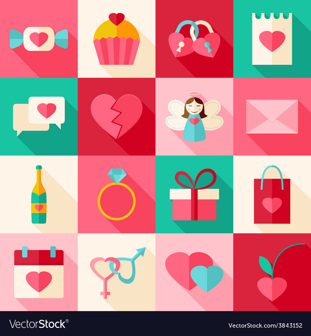 Valentine day flat style icon set with long shadow vector | Price: 1 Credit (USD $1)