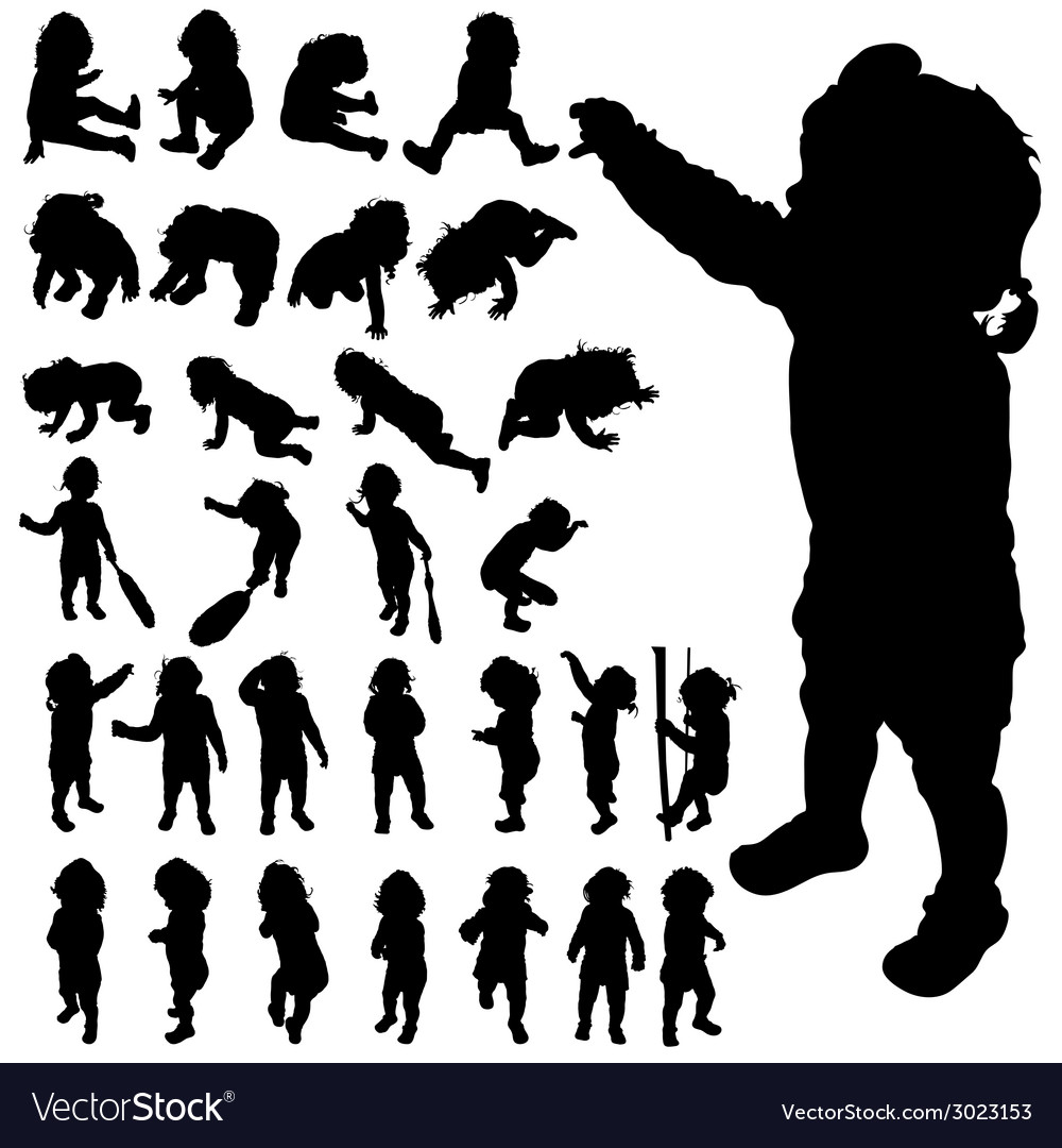 Baby cute posing black silhouette vector | Price: 1 Credit (USD $1)