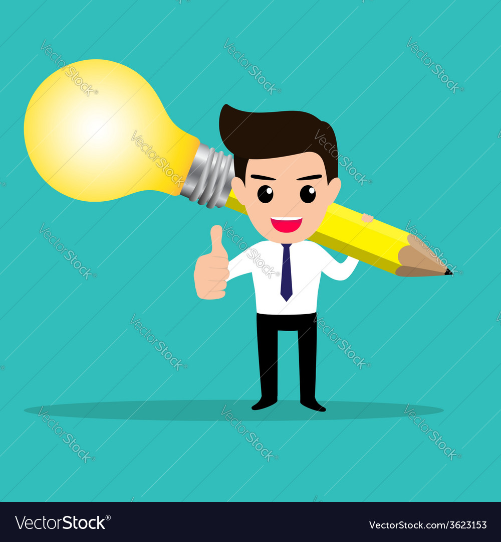 Business man get idea from his lightbulb pencil vector | Price: 1 Credit (USD $1)