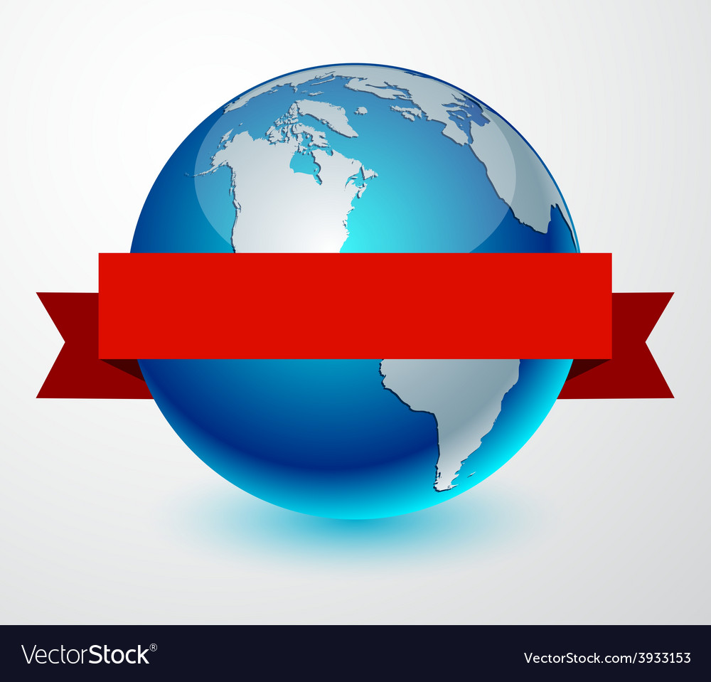 Earth globe with red ribbon vector | Price: 1 Credit (USD $1)