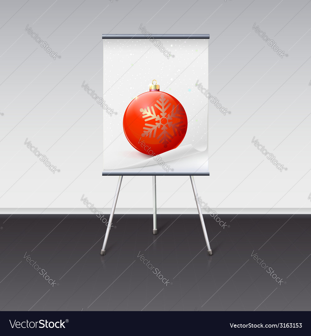 Flipchart with a christmas ball on it vector | Price: 1 Credit (USD $1)