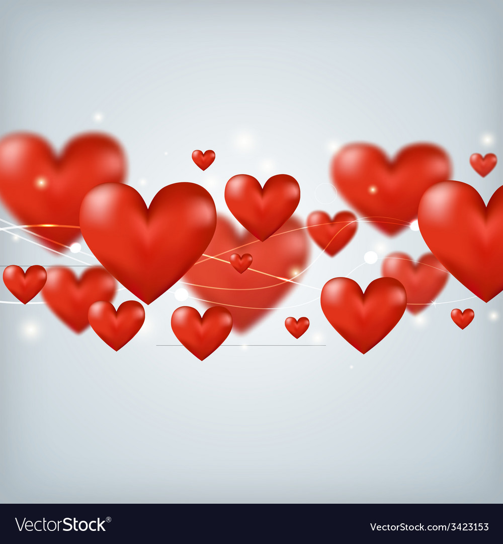 Flying red hearts happy valentines day great for vector | Price: 1 Credit (USD $1)