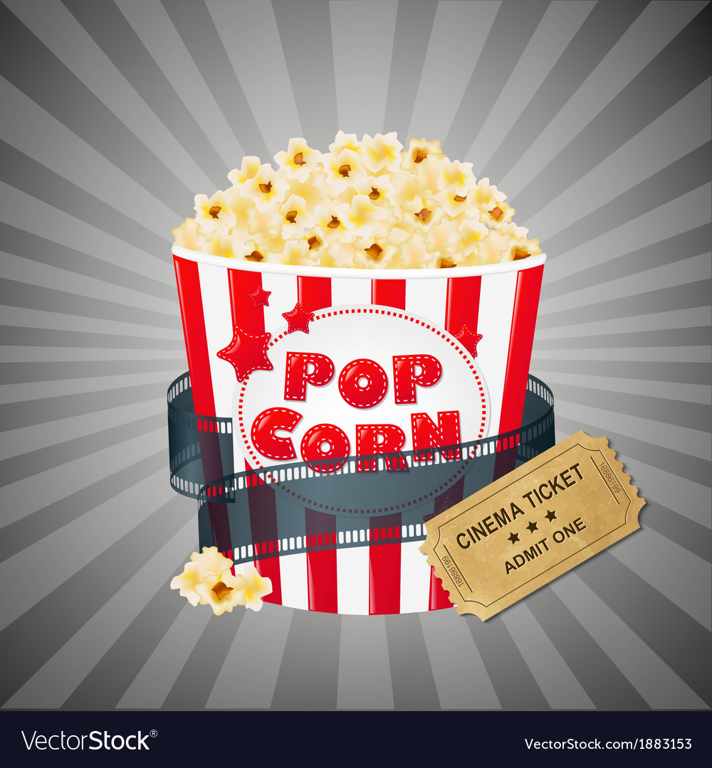 Grey grungy background with popcorn and tickets vector