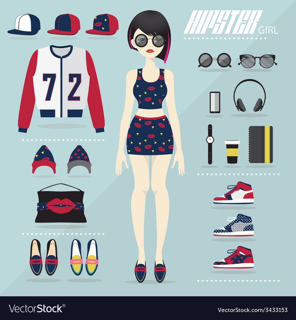 Hipster girl set vector | Price: 1 Credit (USD $1)