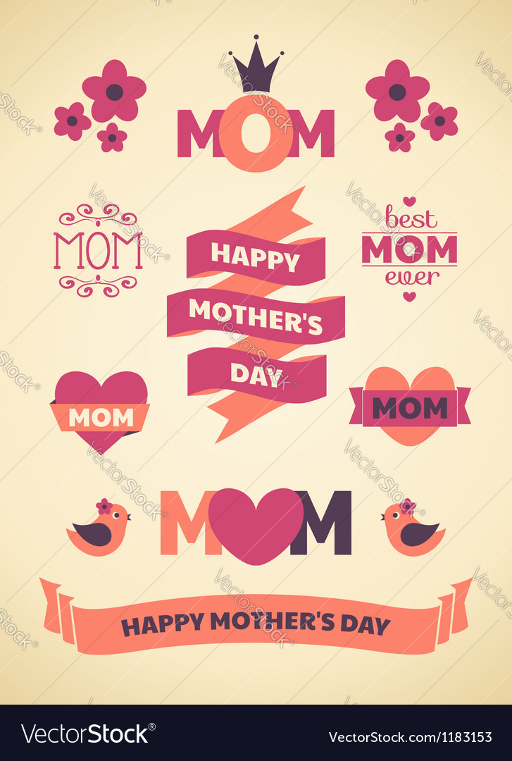 Mothers day design elements vector | Price: 1 Credit (USD $1)