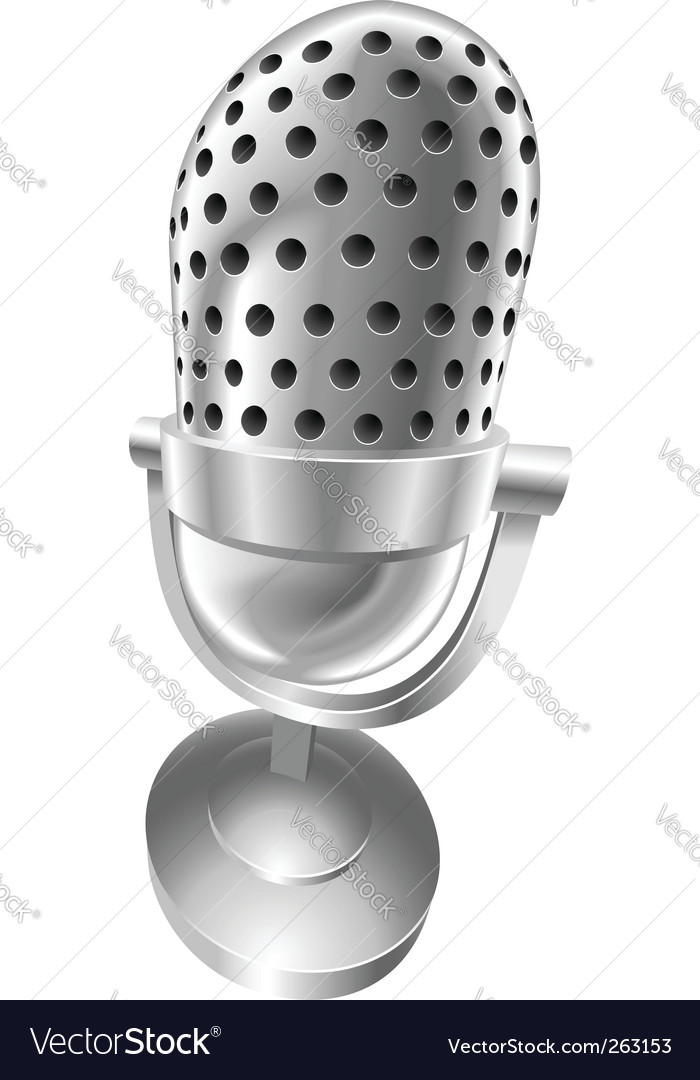 Retro steel microphone vector | Price: 1 Credit (USD $1)