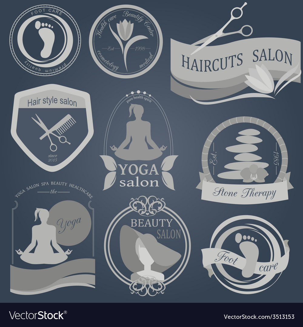 Set of vintage hairstyle body care and cosmetology vector | Price: 1 Credit (USD $1)