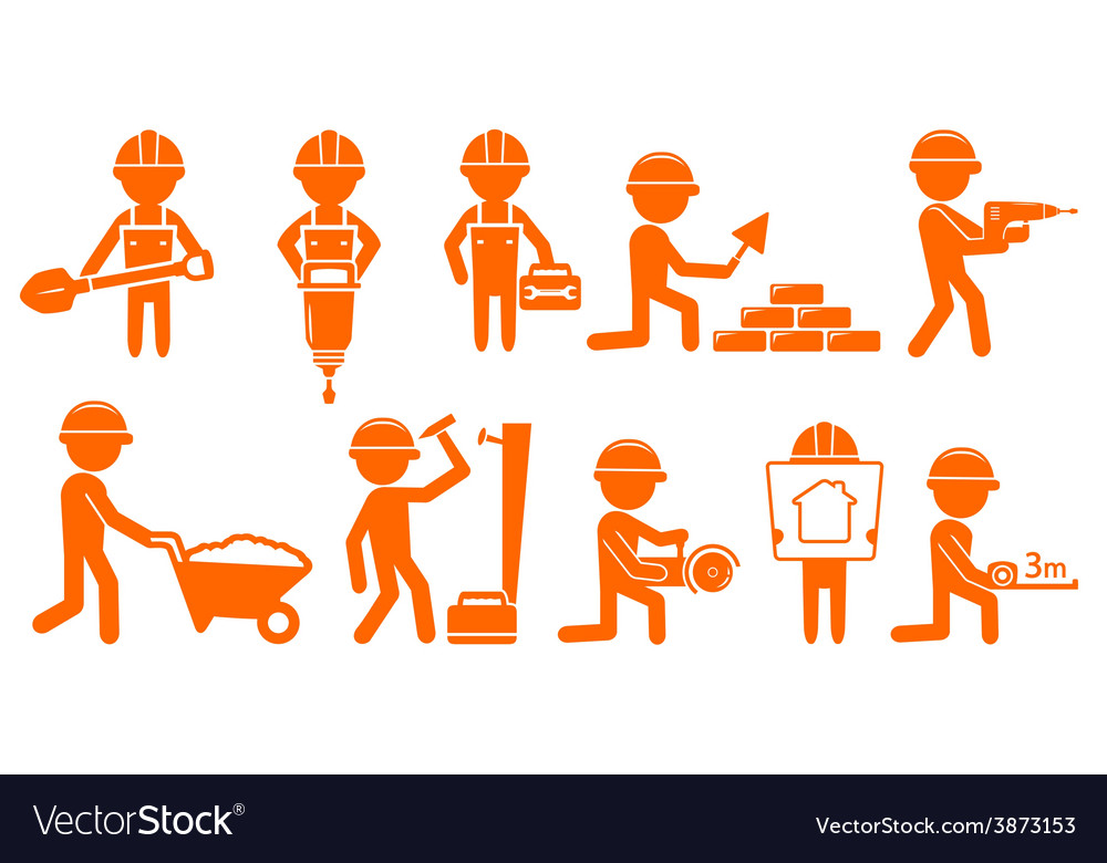 Set repair man with tools for construction vector | Price: 1 Credit (USD $1)