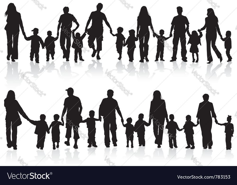 Silhouettes of parents with children vector | Price: 1 Credit (USD $1)
