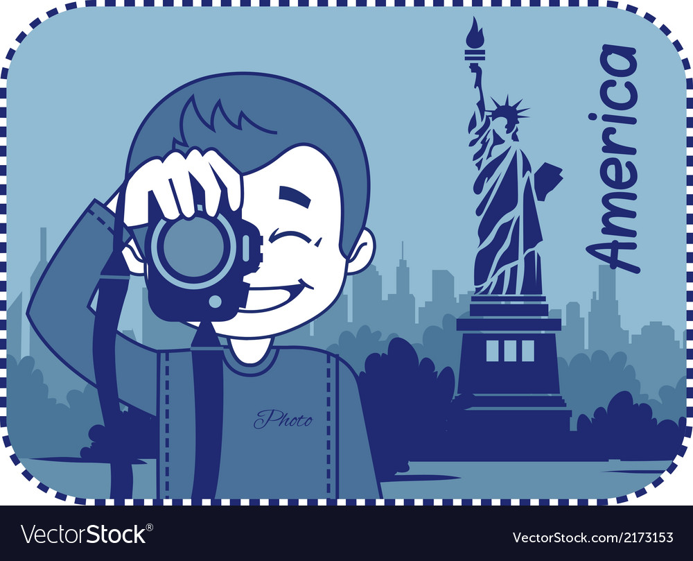 Teaser with photographer travels through america vector | Price: 1 Credit (USD $1)