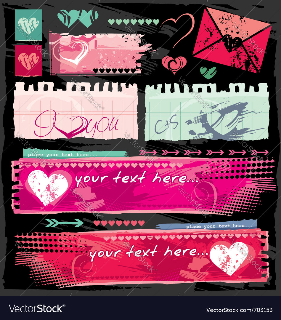 Valentine site banners vector | Price: 1 Credit (USD $1)