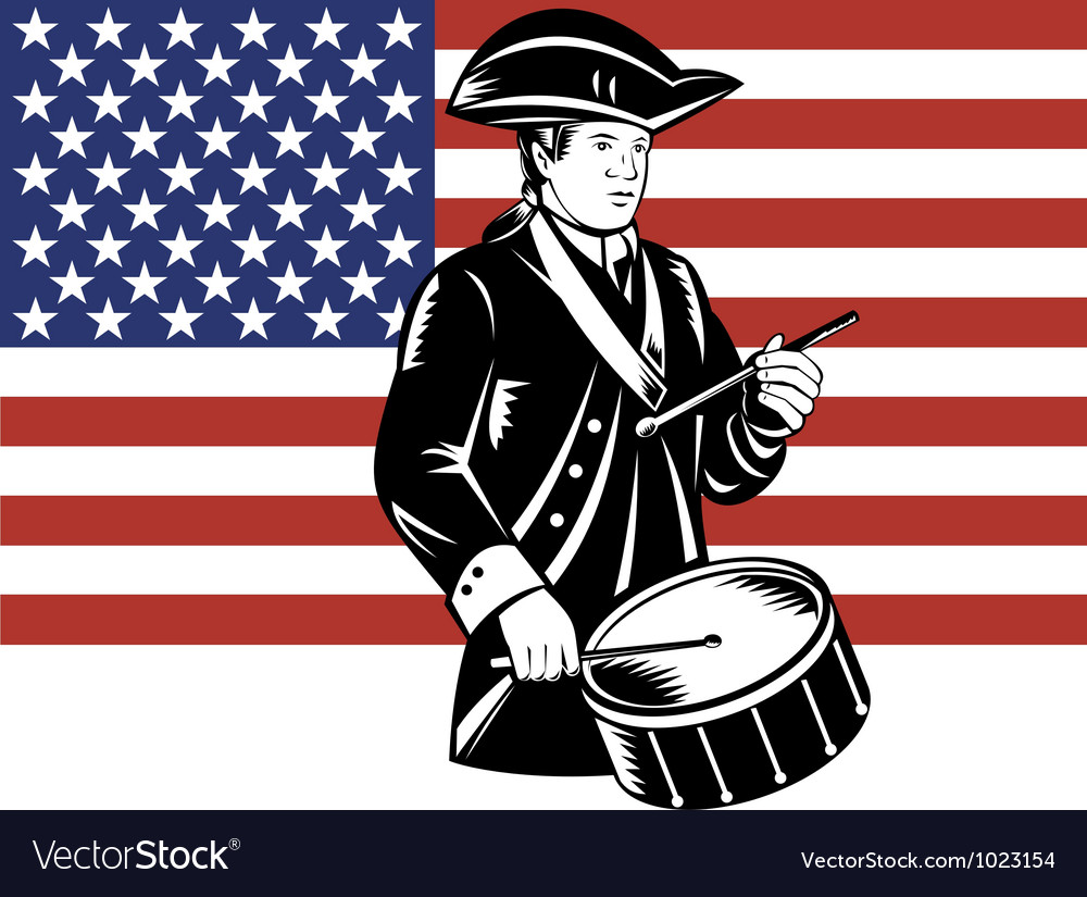American patriot drummer stars and stripes flag vector | Price: 1 Credit (USD $1)