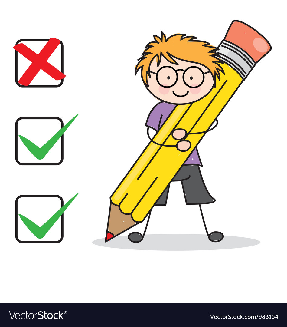 Boy filling a questionnaire vector | Price: 3 Credit (USD $3)