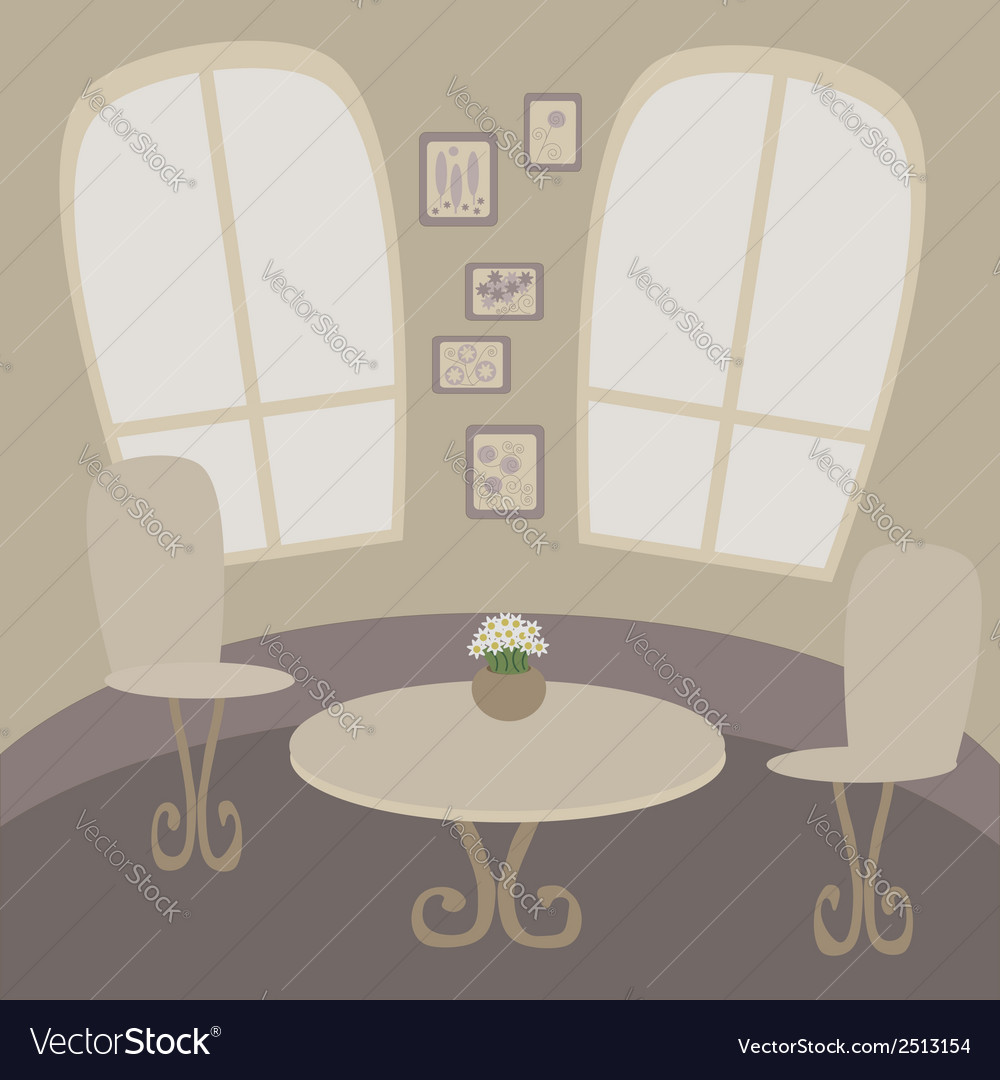 Cafe table with two chairs vector | Price: 1 Credit (USD $1)