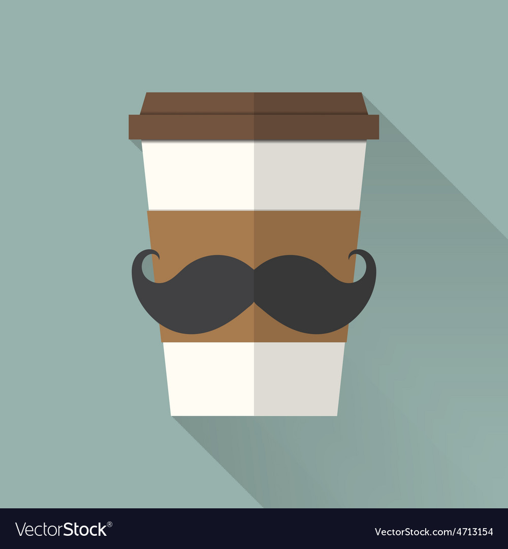 Coffee cup icon with mustache flat icon vector | Price: 1 Credit (USD $1)