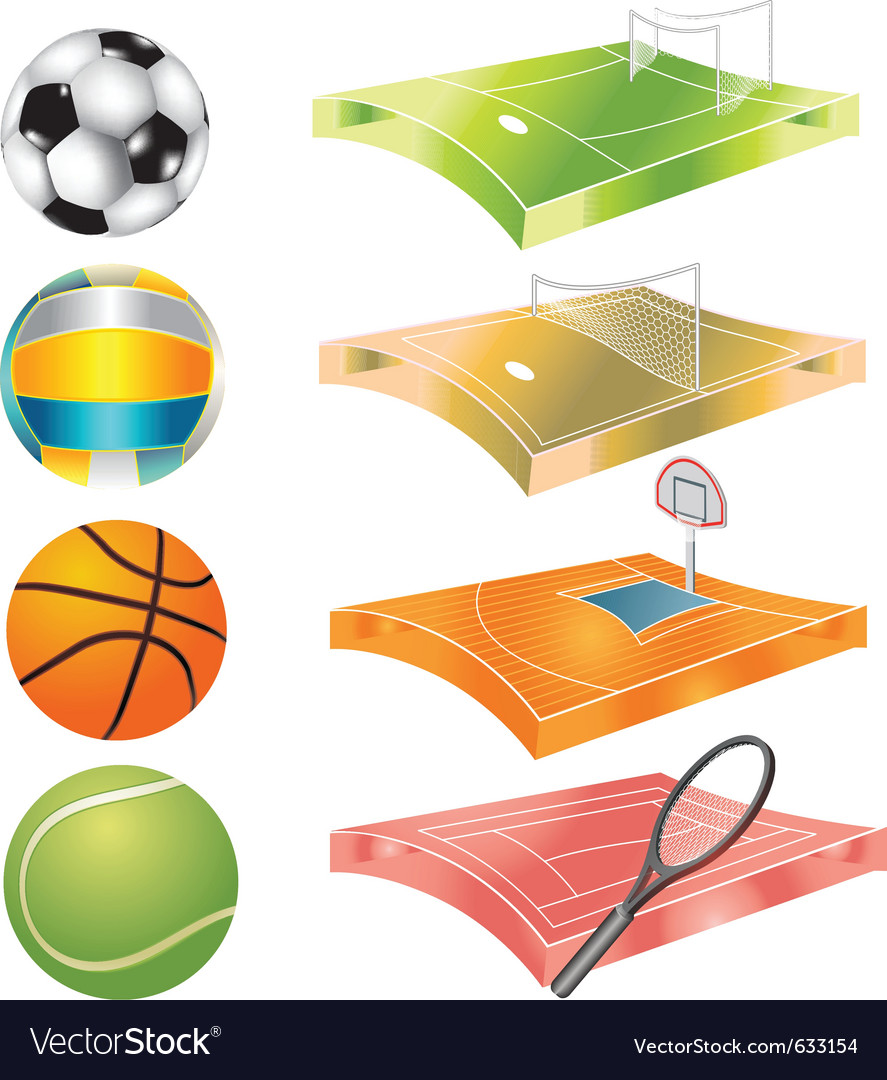 Football basketball volleyball tennis field and vector | Price: 1 Credit (USD $1)