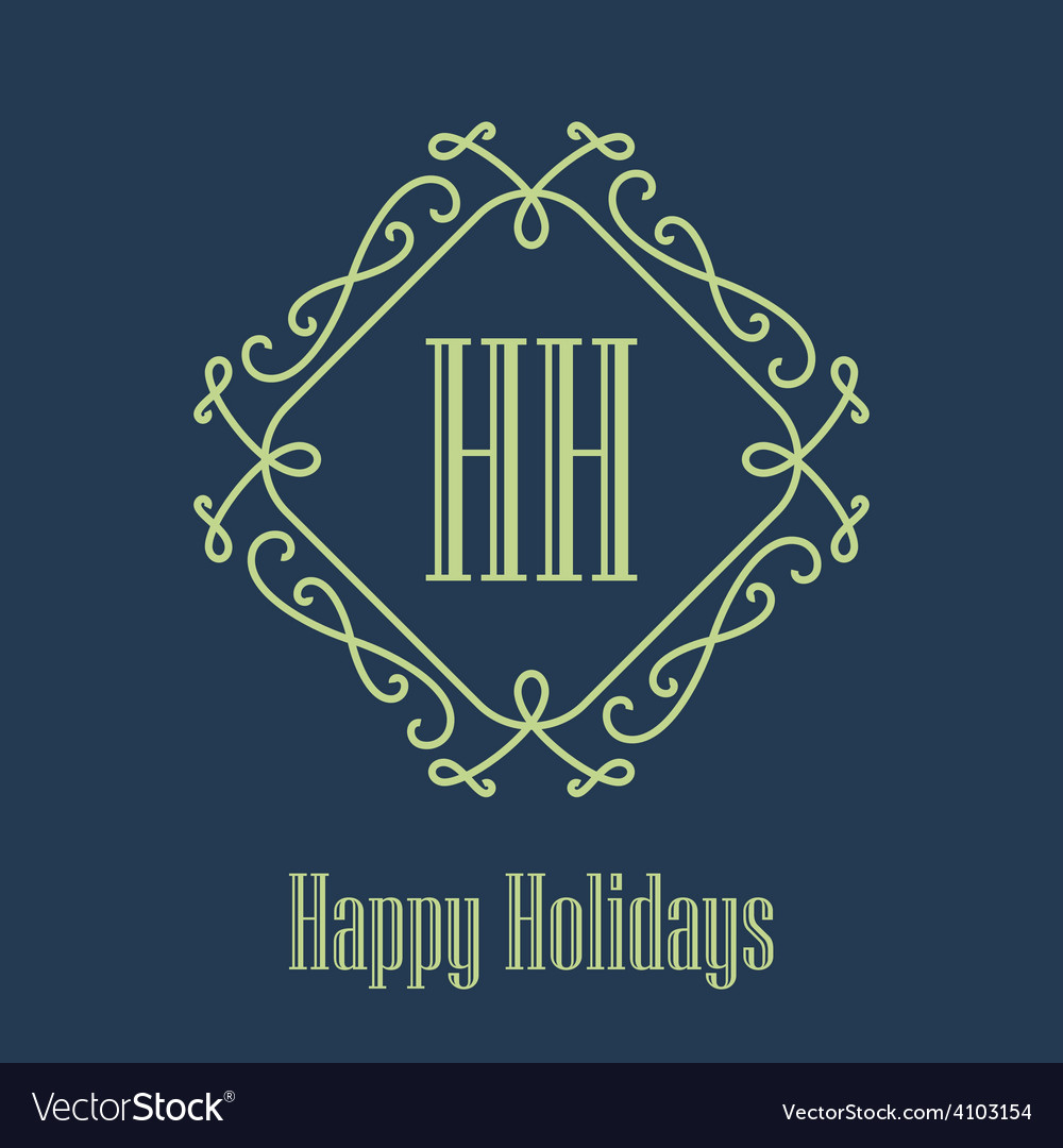 Happy holidays festive card monograms style vector | Price: 1 Credit (USD $1)