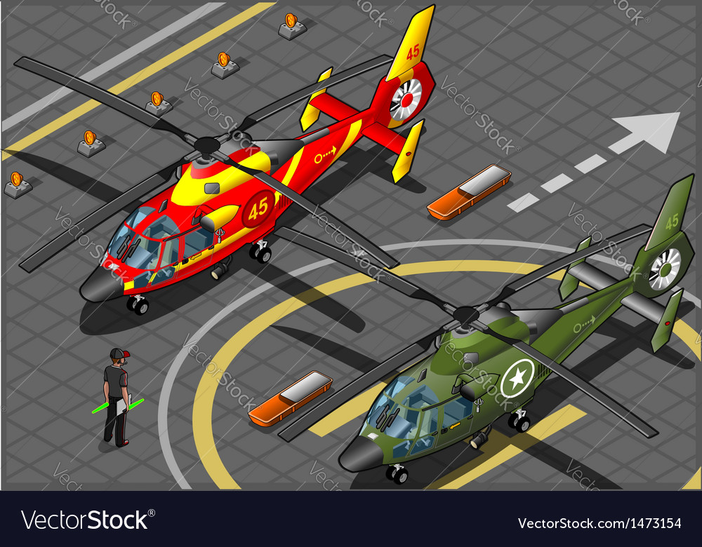 Isometric emergency and military helicopters in vector | Price: 1 Credit (USD $1)