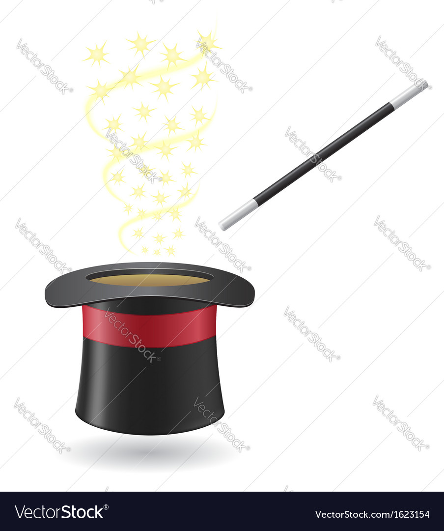 Magic wand and cylinder hat 02 vector | Price: 1 Credit (USD $1)