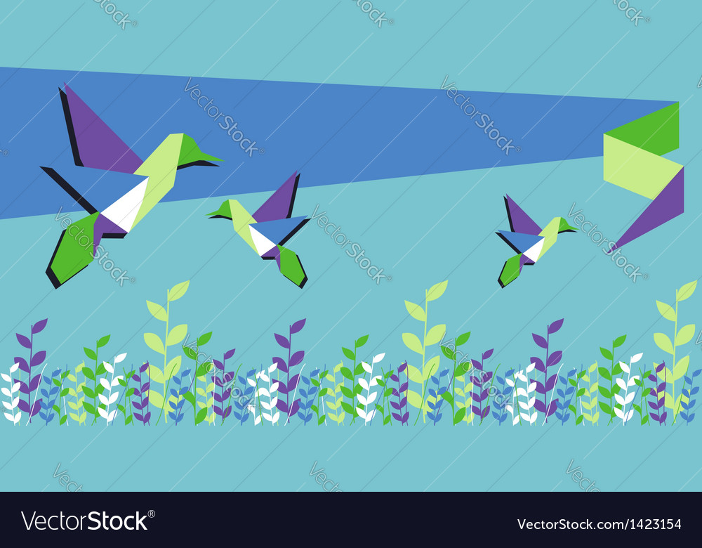 Origami hummingbird spring time vector | Price: 1 Credit (USD $1)