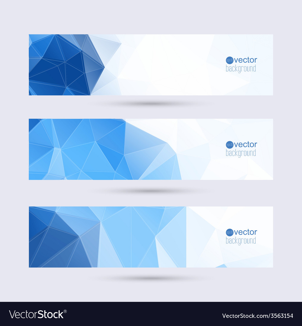 Set of banners with triangles and polygon mesh vector | Price: 1 Credit (USD $1)