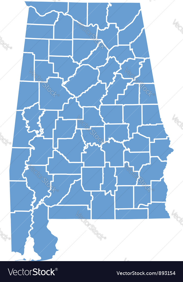 State map of alabama by counties vector | Price: 1 Credit (USD $1)