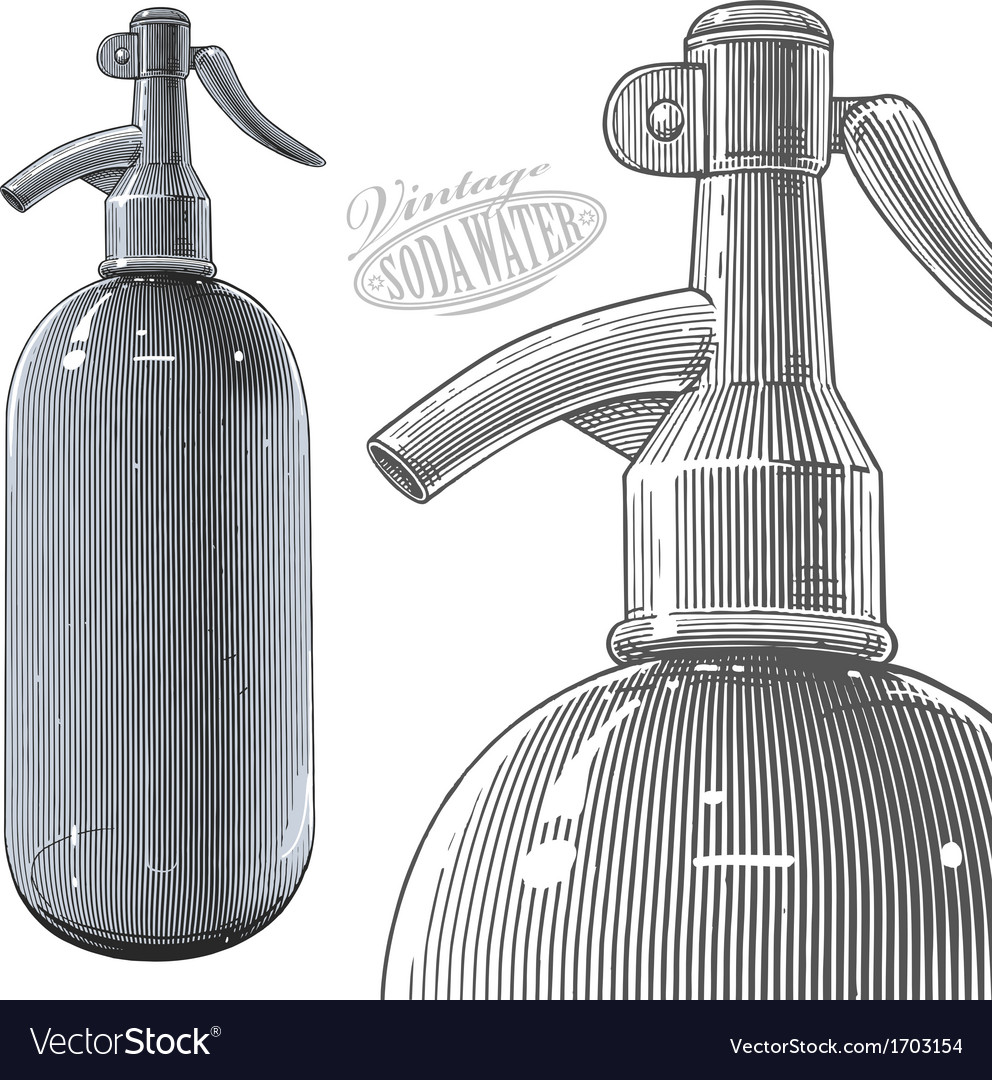 Vintage siphon bottle in engraved style vector | Price: 1 Credit (USD $1)