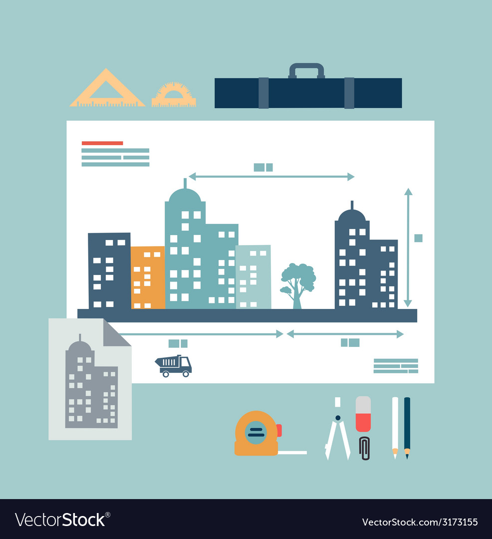 Architect drawings vector | Price: 1 Credit (USD $1)