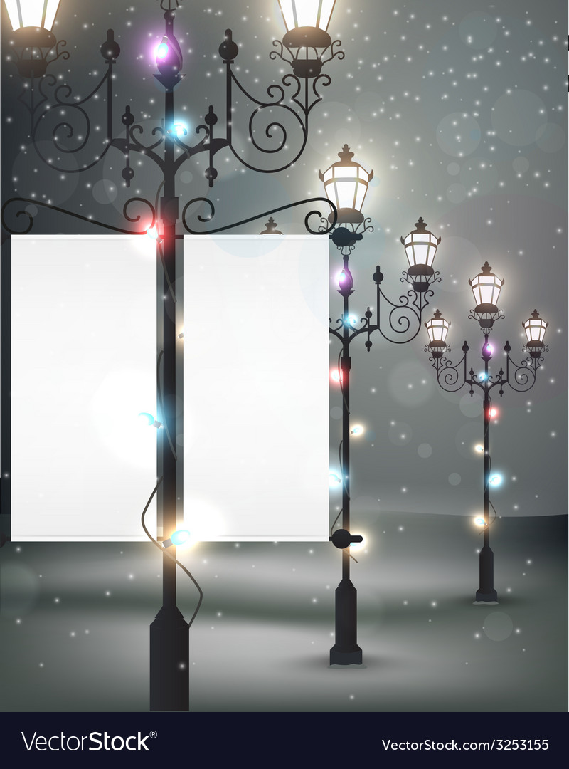 Christmas background with streetlight vector | Price: 3 Credit (USD $3)