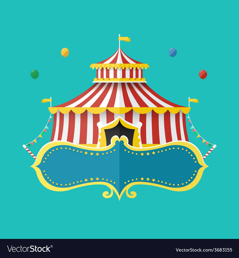 Classical circus tent with banner for text vector | Price: 1 Credit (USD $1)