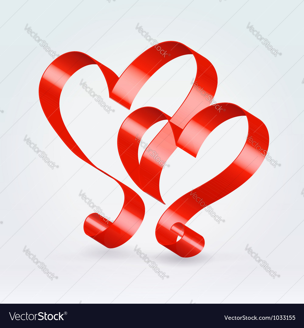 Couple red ribbon hearts vector | Price: 1 Credit (USD $1)