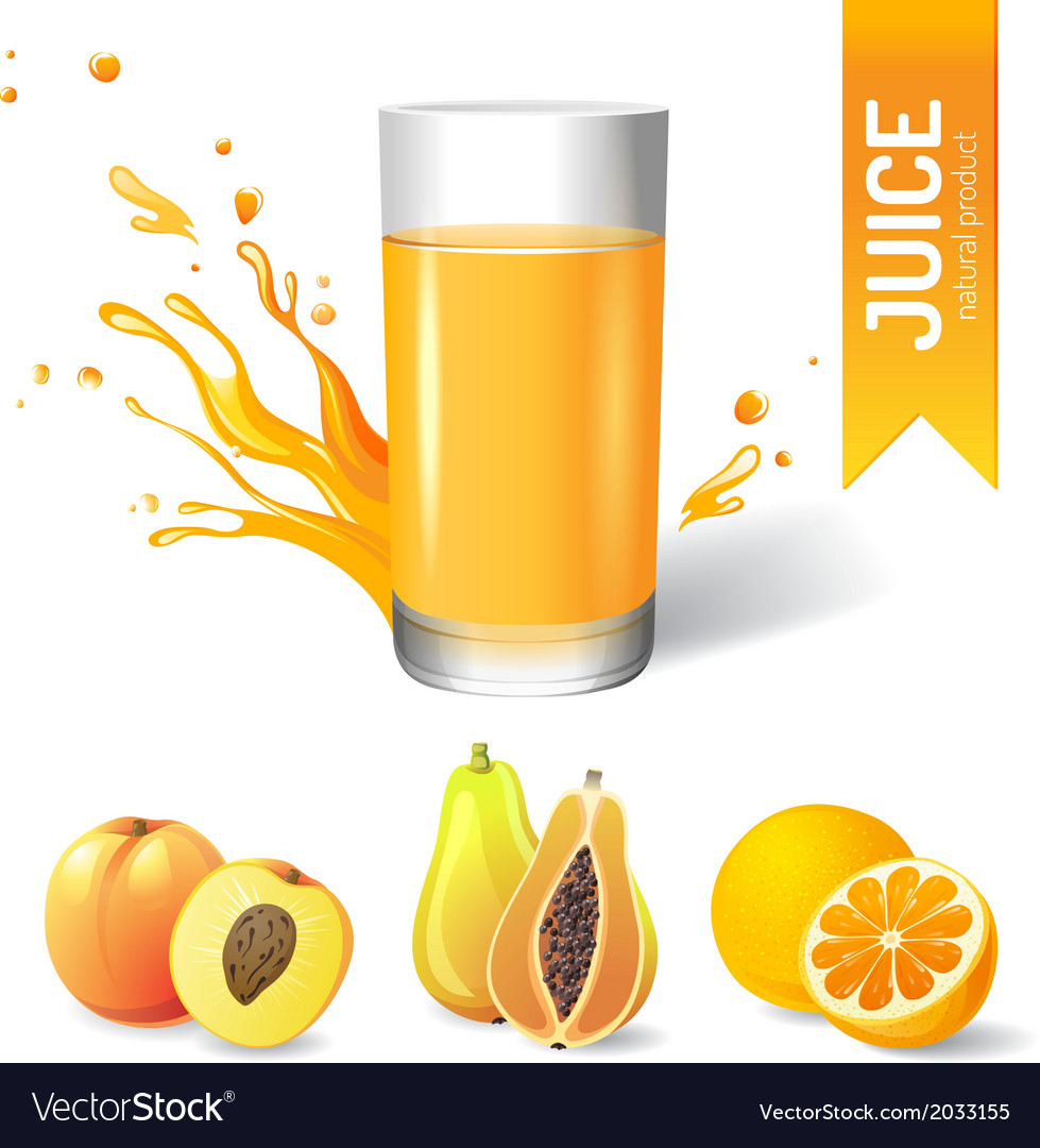 Juice in glass and fruits icons vector | Price: 1 Credit (USD $1)