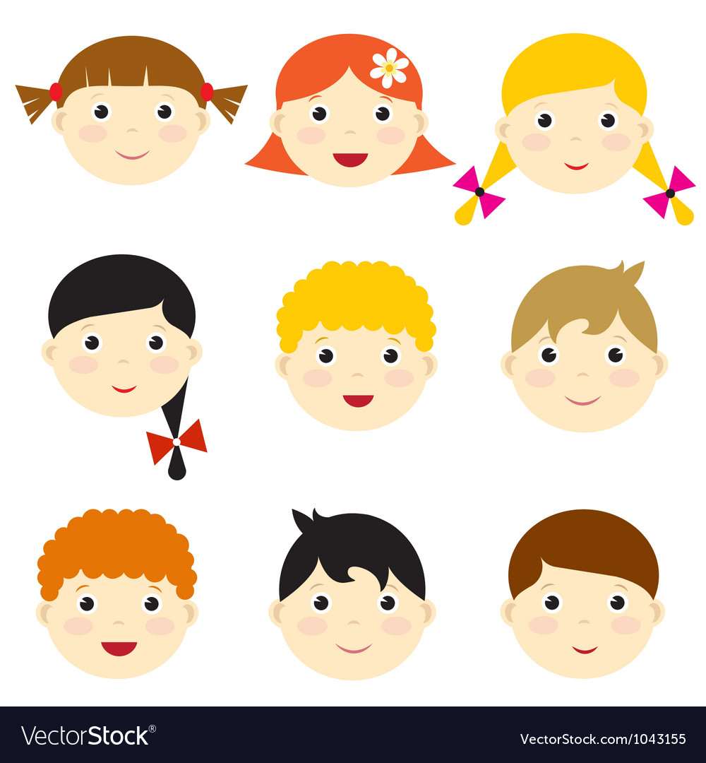 Kid faces vector | Price: 1 Credit (USD $1)