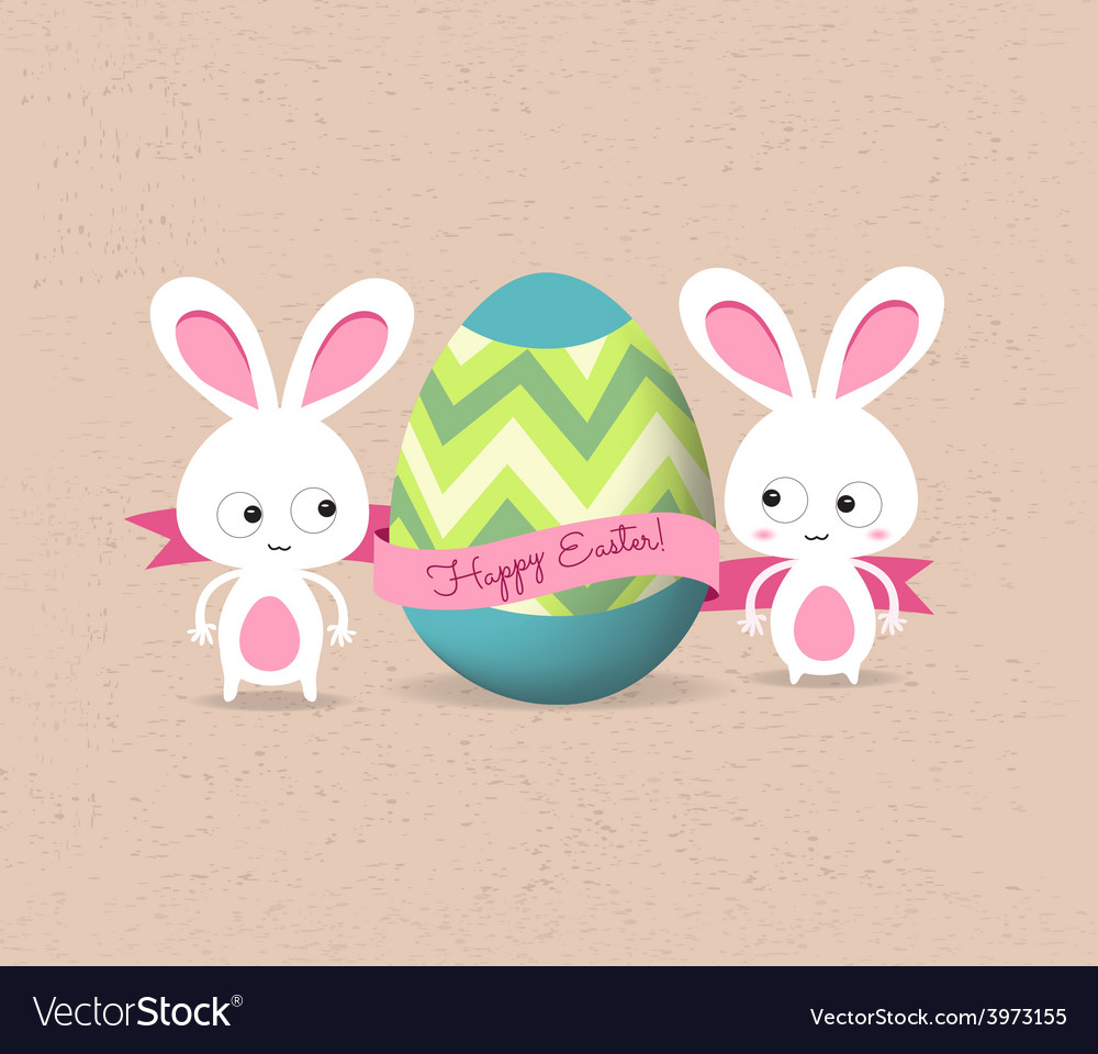 Retro card with striped easter eggs and bunny vector | Price: 1 Credit (USD $1)