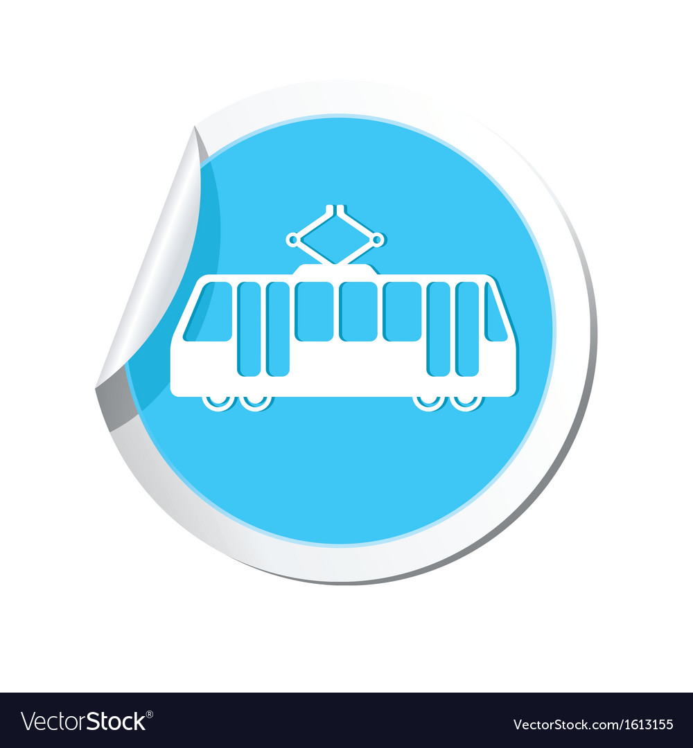 Tram icon round blue copy vector | Price: 1 Credit (USD $1)