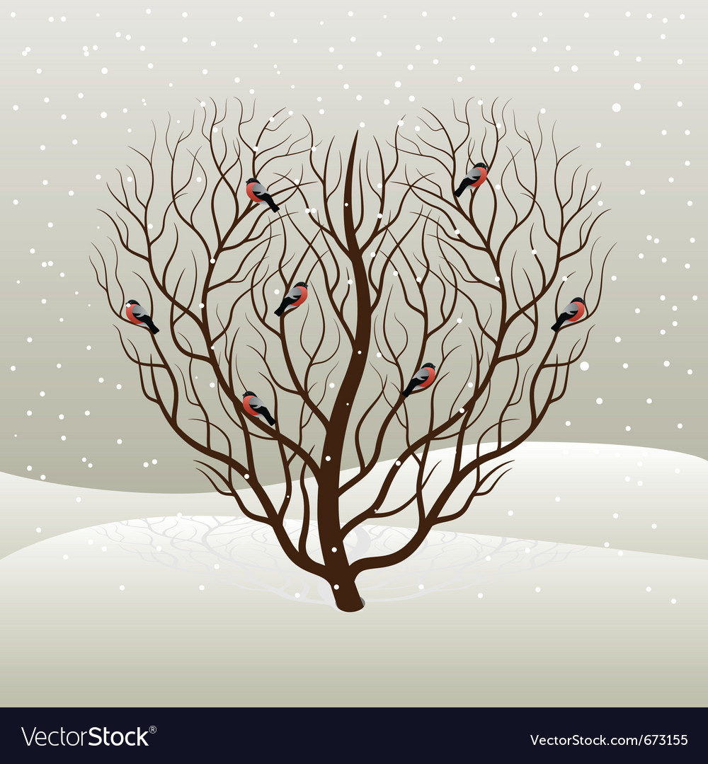 Tree and bullfinches vector | Price: 1 Credit (USD $1)